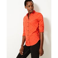 MandS Collection Pima Cotton Rich Polka Dot Shirt