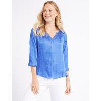 M&S Collection Satin V-Neck 3/4 Sleeve Blouse