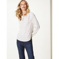 M&S Collection Spotted Round Neck Long Sleeve Blouse