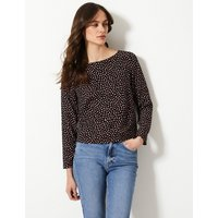 M&S Collection Printed Round Neck Long Sleeve Shell Top