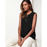 M&S Collection Zipped Detail Round Neck Shell Top
