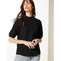 M&S Collection High Neck Short Sleeve Shell Top
