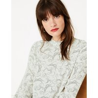 M&S Collection Woven Swirl Print Long Sleeve Top