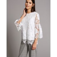 Autograph Lace Round Neck 3/4 Sleeve Blouse