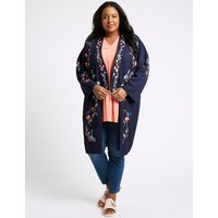 M&S Collection CURVE Embroidered Long Sleeve Kimono Top