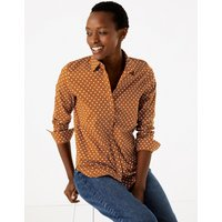 MandS Collection Cotton Rich Polka Dot Slim Fit Shirt