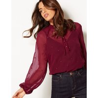 Per Una Embroidered Long Sleeve Blouse