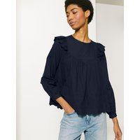 M&S Collection Pure Cotton Embroidered Long Sleeve Blouse