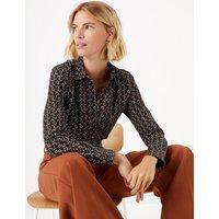 MandS Collection Cotton Rich Horseshoe Print Slim Fit Shirt