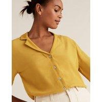 M&S Womens Textured V-Neck 3/4 Sleeve Shirt - 12 - Ivory, Ivory