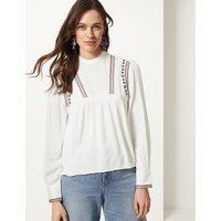 M&S Collection Embroidered High Neck Long Sleeve Blouse