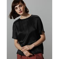 Autograph Pure Silk Round Neck Short Sleeve Shell Top