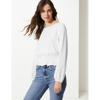 M&S Collection Round Neck Long Sleeve Blouse