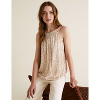 MandS Collection Satin Printed Gathered Neck Camisole Top