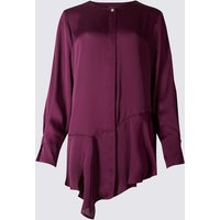 M&S Collection Round Neck Longline Long Sleeve Blouse