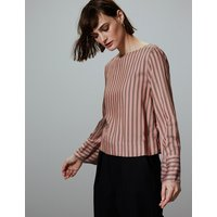 Autograph Striped Round Neck Long Sleeve Blouse