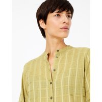 MandS Collection Pure Cotton Checked Collarless Shirt