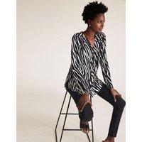 MandS Womens Zebra Print V-Neck Long Sleeve Tunic - 10 - Black Mix, Black Mix
