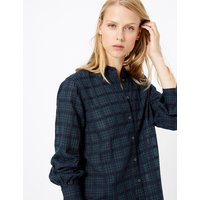 MandS Collection Pure Cotton Checked Longline Shirt