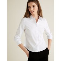 MandS Collection PETITE Cotton Fitted Long Sleeve Shirt