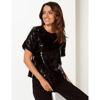 Per Una Embellished Round Neck Short Sleeve Blouse