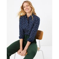 MandS Collection Cotton Rich Polka Dot Fitted Shirt
