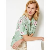 M&S Collection Floral Print Button Detailed Shirt