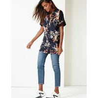 M&S Collection Floral Print Satin Short Sleeve Blouse