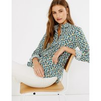 MandS Collection Pima Cotton Floral Button Detailed Shirt
