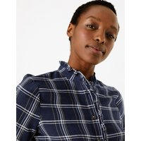 MandS Collection Cotton Rich Checked Longline Shirt