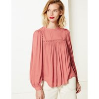 M&S Collection Lace Insert High Neck Long Sleeve Blouse