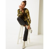 M&S Collection Printed High Neck Long Sleeve Blouse