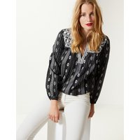 M&S Collection Cotton Rich Embroidered Long Sleeve Blouse