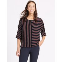 M&S Collection Kimono Striped 3/4 Sleeve Shell Top
