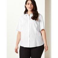 MandS Collection CURVE Cotton Rich Button Detailed Shirt
