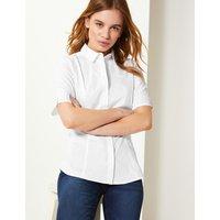 MandS Collection PETITE Cotton Rich Button Detailed Shirt