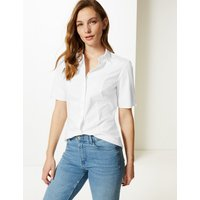 MandS Collection Cotton Rich Button Detailed Shirt