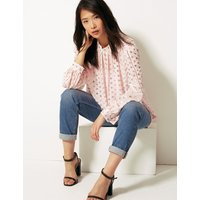 M&S Collection Polka Dot Long Sleeve Blouse