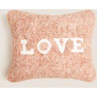 M&S Teddy Love Slogan Mini Cushion - 1SIZE - Pink, Pink