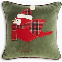 Velvet Robin Applique Cushion