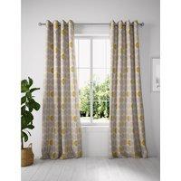 Layla Circles Eyelet Curtains yellow