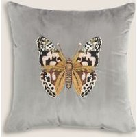 M&S Velvet Butterfly Embroidered Cushion - 1SIZE - Silver Grey, Silver Grey,Blush,Ochre