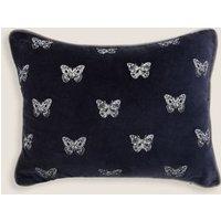 MandS Velvet Butterfly Embroidered Bolster Cushion - 1SIZE - Navy, Navy