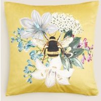 M&S Velvet Bee Medium Embroidered Cushion - 1SIZE - Ochre, Ochre,Forest Green