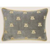 MandS Pure Cotton Velvet Bee Bolster Cushion - 1SIZE - Mustard, Mustard,Grey Mix