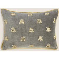 Pure Cotton Velvet Bee Bolster Cushion