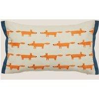 MandS Scion Brushed Cotton Mr Fox Bolster Cushion - Light Blue, Light Blue