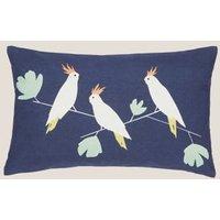 MandS Scion Pure Cotton Lovebirds Bolster Cushion - Medium Cream, Medium Cream