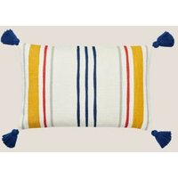 MandS Joules Pure Cotton Heron Stripe Bolster Cushion - Charcoal, Charcoal