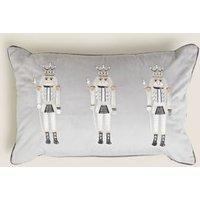 MandS Nutcracker Embroidered Bolster Cushion - Grey Mix, Grey Mix